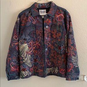 Chico's Denim Button Up Embellished Jacket